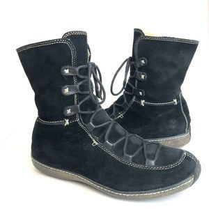 Timberland Black Suede Fleece Lined Boots